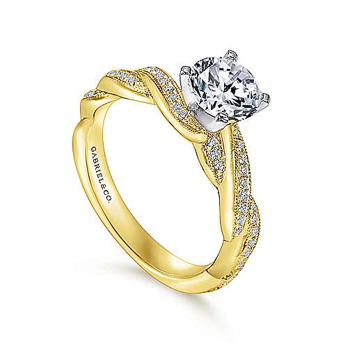 Cassidy 14k Yellow And White Gold Round Twisted Engagement Ring angle 3