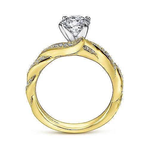 Cassidy 14k Yellow/white Gold Round Twisted Engagement Ring angle 2