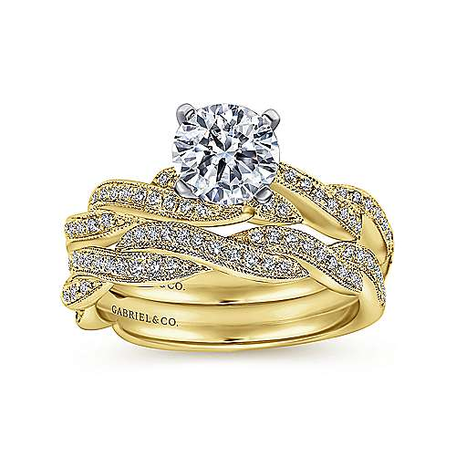 Cassidy 14k Yellow/white Gold Round Twisted Engagement Ring angle 4
