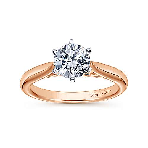 Cassie 14k White/rose Gold Round Solitaire Engagement Ring angle 5