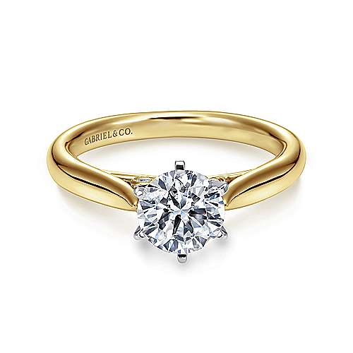 Cassie 14k Yellow And White Gold Round Solitaire Engagement Ring angle 1