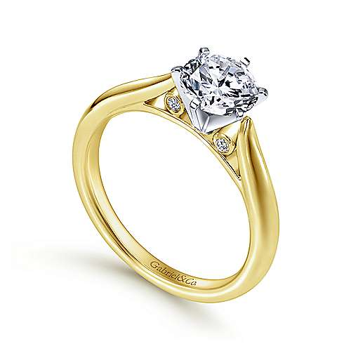 Cassie 14k Yellow And White Gold Round Solitaire Engagement Ring angle 3
