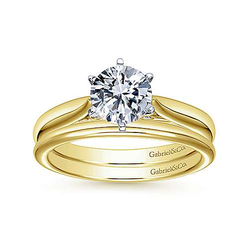 Cassie 14k Yellow And White Gold Round Solitaire Engagement Ring angle 4