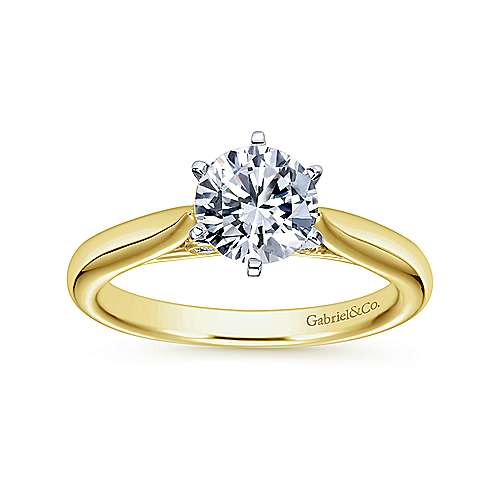Cassie 14k Yellow And White Gold Round Solitaire Engagement Ring angle 5