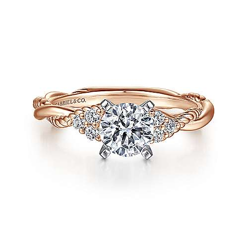 Catalina 14k White And Rose Gold Round Twisted Engagement Ring angle 1