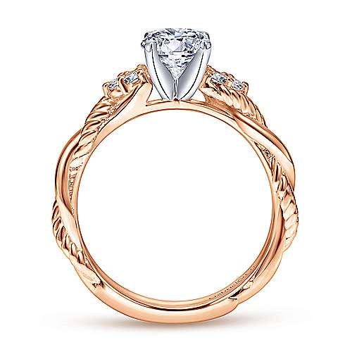 Catalina 14k White And Rose Gold Round Twisted Engagement Ring angle 2