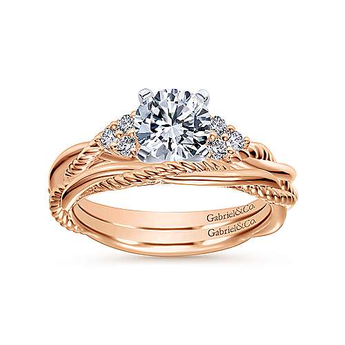 Catalina 14k White And Rose Gold Round Twisted Engagement Ring angle 4