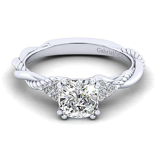 Gabriel - Catalina 14k White Gold Cushion Cut Twisted Engagement Ring