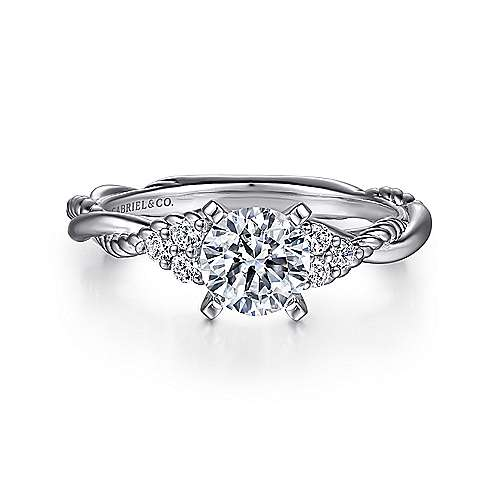 Gabriel - Catalina 14k White Gold Round Twisted Engagement Ring