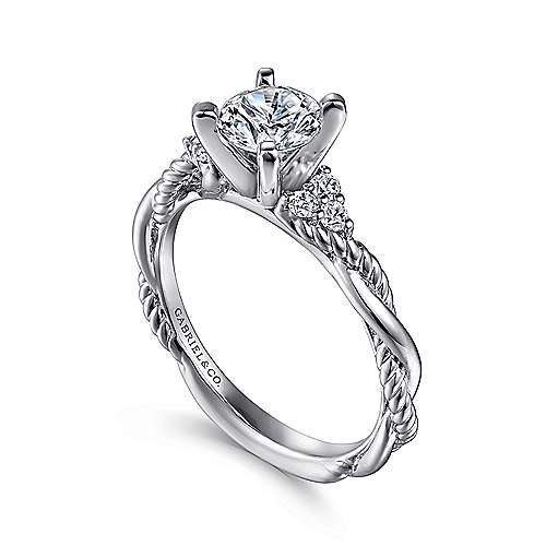Catalina 14k White Gold Round Twisted Engagement Ring angle 3