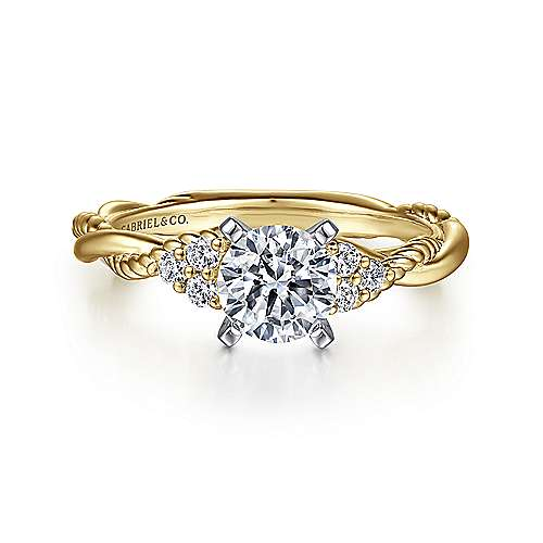 Gabriel - Catalina 14k Yellow And White Gold Round Twisted Engagement Ring