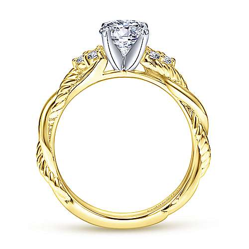 Catalina 14k Yellow And White Gold Round Twisted Engagement Ring angle 2