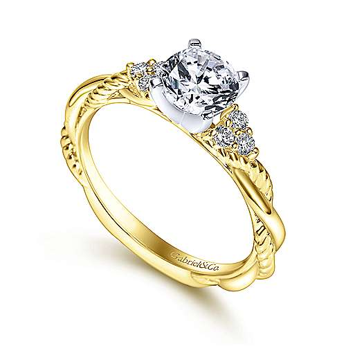 Catalina 14k Yellow And White Gold Round Twisted Engagement Ring angle 3