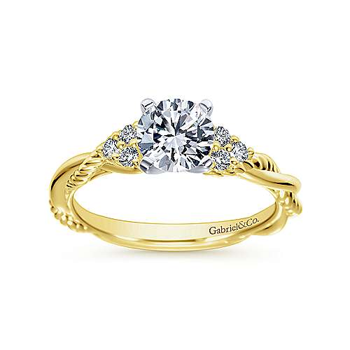 Catalina 14k Yellow And White Gold Round Twisted Engagement Ring angle 5