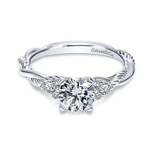 Gabriel - Catalina 18k White Gold Round Twisted Engagement Ring