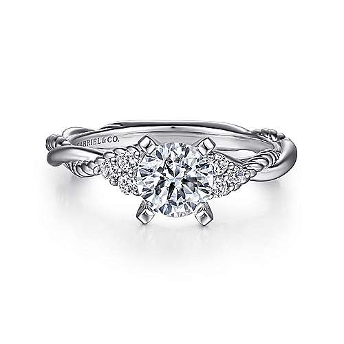 Gabriel - Catalina Platinum Round Twisted Engagement Ring