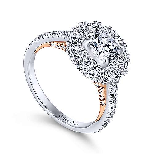Cate 14k White And Rose Gold Round Double Halo Engagement Ring angle 3