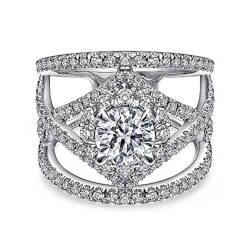 Gabriel - Catena 14k White Gold Round Halo Engagement Ring