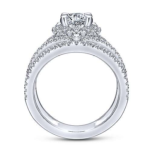 Catena 14k White Gold Round Halo Engagement Ring angle 2