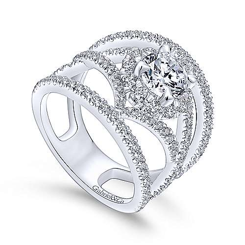 Catena 14k White Gold Round Halo Engagement Ring angle 3