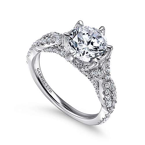 Caterina 18k White Gold Round Twisted Engagement Ring angle 3