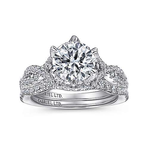 Caterina 18k White Gold Round Twisted Engagement Ring angle 4