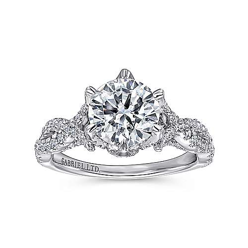 Caterina 18k White Gold Round Twisted Engagement Ring angle 5