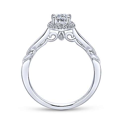 Catherine 14k White Gold Oval Halo Engagement Ring angle 2