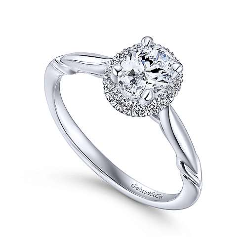 Catherine 14k White Gold Oval Halo Engagement Ring angle 3