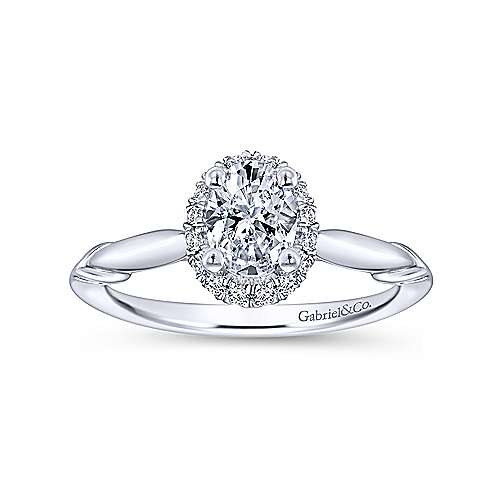 Catherine 14k White Gold Oval Halo Engagement Ring angle 5