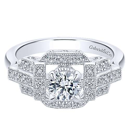 Cavoli 14k White Gold Round Halo Engagement Ring angle 1