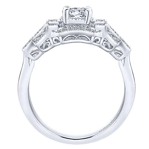 Cavoli 14k White Gold Round Halo Engagement Ring