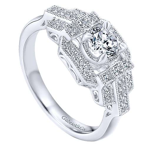 Cavoli 14k White Gold Round Halo Engagement Ring angle 3