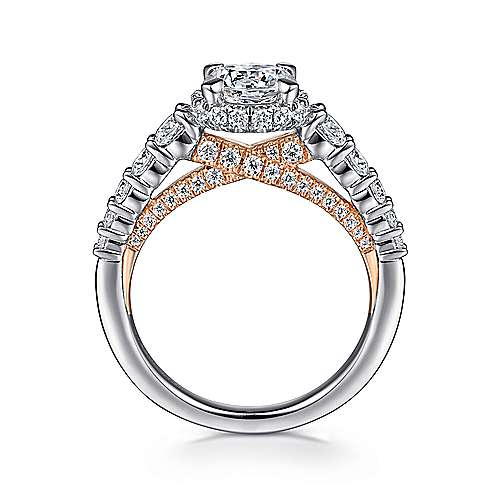 Cecilia 14k White And Rose Gold Round Straight Engagement Ring angle 2