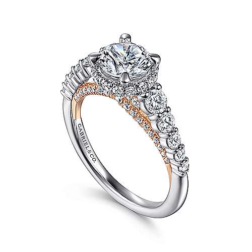 Cecilia 14k White And Rose Gold Round Straight Engagement Ring angle 3