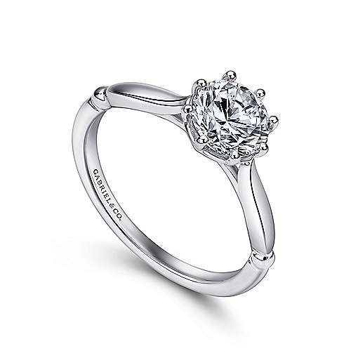 Cecily 18k White Gold Round Solitaire Engagement Ring angle 3