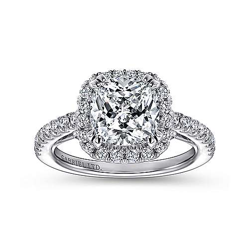 Ceira 18k White Gold Cushion Cut Halo Engagement Ring angle 5