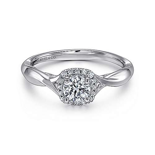Gabriel - Celeste 14k White Gold Round Halo Engagement Ring