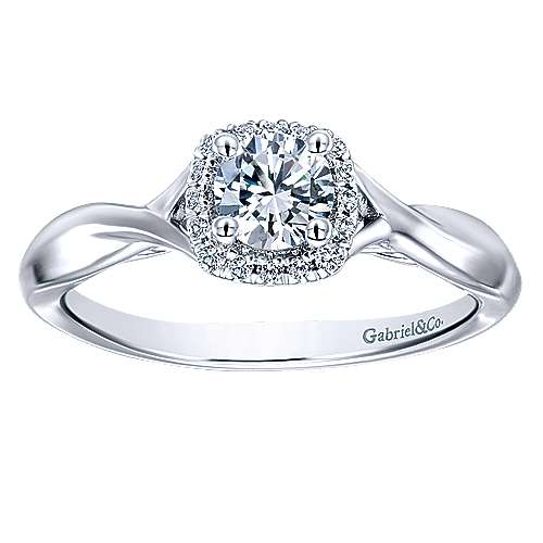 Celeste 14k White Gold Round Halo Engagement Ring