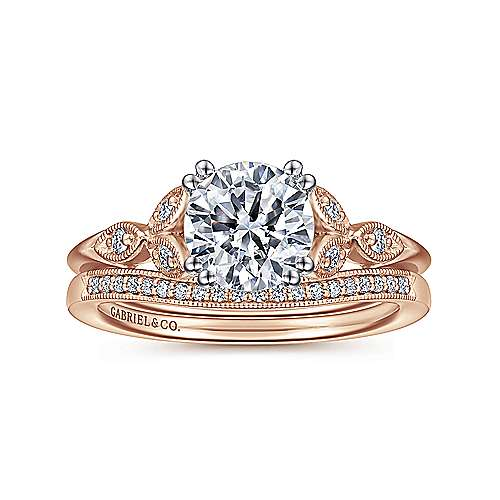Celia 14k White And Rose Gold Round Straight Engagement Ring angle 4