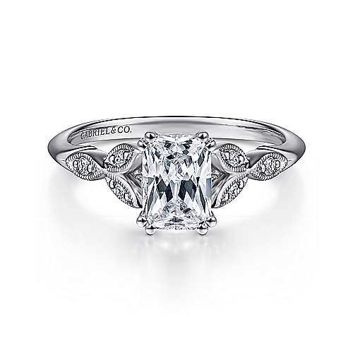 Gabriel - Celia 14k White Gold Emerald Cut Straight Engagement Ring