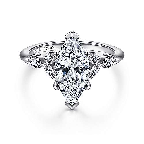 Gabriel - Celia 14k White Gold Marquise  Straight Engagement Ring