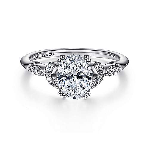 Gabriel - Celia 14k White Gold Oval Straight Engagement Ring