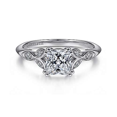 Gabriel - Celia 14k White Gold Princess Cut Straight Engagement Ring