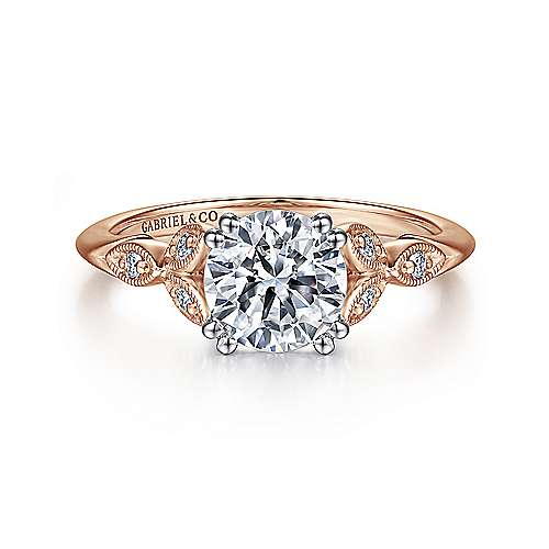 Gabriel - Celia 14k White/pink Gold Round Straight Engagement Ring