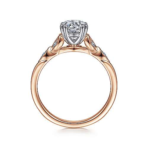 Celia 14k White/rose Gold Round Straight Engagement Ring angle 2