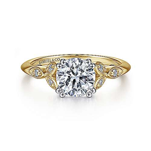 Celia 14k Yellow And White Gold Round Straight Engagement Ring angle 1