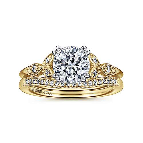 Celia 14k Yellow And White Gold Round Straight Engagement Ring angle 4
