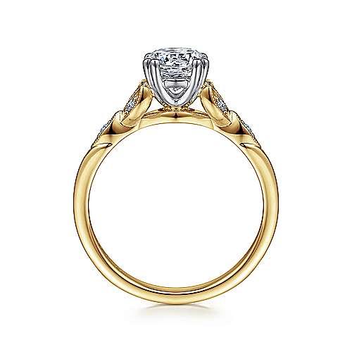 Celia 14k Yellow/white Gold Round Straight Engagement Ring angle 2
