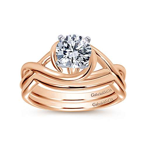 Celine 14k White And Rose Gold Round Twisted Engagement Ring angle 4